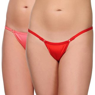 Women's G-string Red, Pink Panty  (Pack of 2)