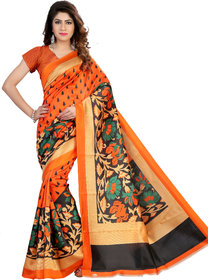 1Haze Multicolor Bhagalpuri Silk Block Print Saree With Blouse