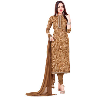 Brown Color Casual Dress Material (Unstitched)