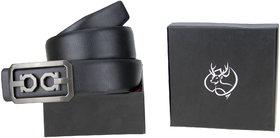 Genious Black 034 Leather Formal Belt For Men