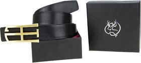 Genious Black 036 Leather Formal Belt For Men