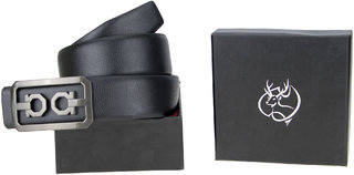 Genious Black 034 Leather Formal Belt For Men