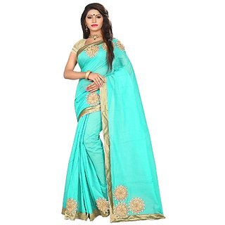 Pari Designer Women's Embroidered Cotton Fashion Saree With Blouse