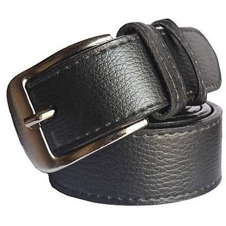 Men's Black Belt With Pin-Hole Buckle (Synthetic leather/Rexine)