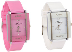Prushti Combo Of Two Watches-Baby Pink +  White Rectangular Dial Kawa Watch For Women