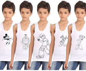 Cartoon Printed vests pack of 5 for Boys
