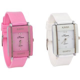 Prushti Combo Of Two Watches-Baby Pink +  White Rectangular Dial Kawa Watch For Women