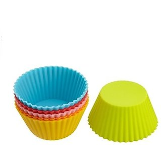 SILICONE ROUND SHAPE BAKEWARE CAKE, MUFFINS TART AND CUP CAKE MOULDS - SET OF 6PCS