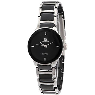 IIK SilverBlack Women  Cut Watch For Ladies By Prushti
