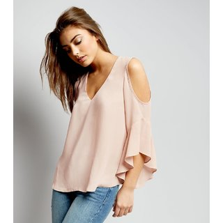 Fabrange Pink Plain V-Neck Cold Shoulder Top