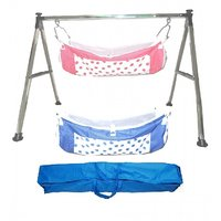 Smart Baby Products Steel Folding Baby Cradle with Red and Blue Color Strawberry Printed Cotton Hammock