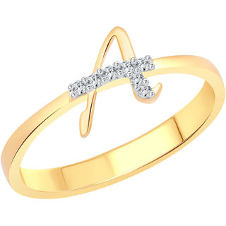 Vighnaharta initial ''A'' Letter (CZ) Gold and Rhodium Plated Ring For Girls - VFJ1178FRG16