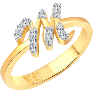 Vighnaharta initial ''M'' Letter (CZ) Gold and Rhodium Plated Alloy Ring for Girls and Women - VFJ1189FRG16