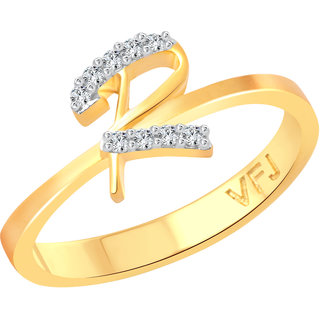 Vighnaharta initial ''R'' Letter (CZ) Gold and Rhodium Plated Alloy Ring for Girls and Women - VFJ1190FRG16