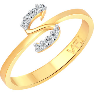 Vighnaharta initial ''S'' Letter (CZ) Gold and Rhodium Plated Alloy Ring for Girls and Women - VFJ1191FRG16
