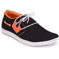 Groofer Men's Black  Orange Casual Shoes