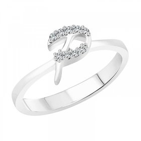 Vighnaharta initial ''P'' Alphabet (CZ) Silver and Rhodium Plated Ring For Girls - VFJ1185FRR16