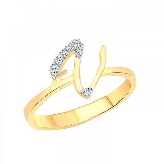 Vighnaharta initial ''V'' Letter (CZ) Gold and Rhodium Plated Ring For Girls - VFJ1186FRG16