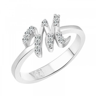 Vighnaharta initial ''M'' Alphabet (CZ)  Rhodium Plated Alloy Ring for Girls and Women - VFJ1189FRR16