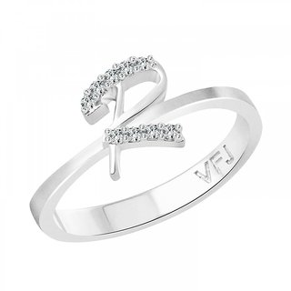 Vighnaharta initial ''R'' Alphabet (CZ)  Rhodium Plated Alloy Ring for Girls and Women - VFJ1190FRR16