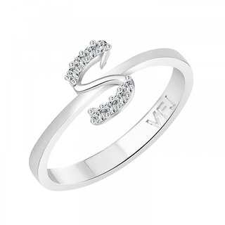 Vighnaharta initial ''S'' Alphabet (CZ)  Rhodium Plated Alloy Ring for Girls and Women - VFJ1191FRR16