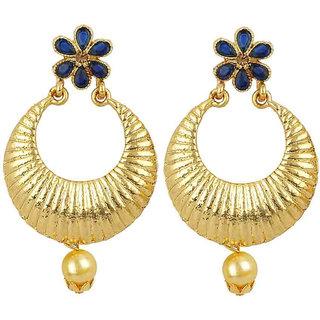 Jewels Guru Exclusive Golden Blue White Earring Set / S 3825