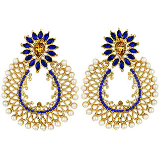 Jewels Capital Exclusive Golden Blue White Earring Set / S 3837