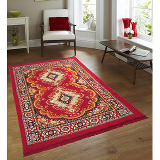 Free Shipping Azaani Anit Bacterial Red Color Traditional Jute carpet - 5 Feet  7 Feet