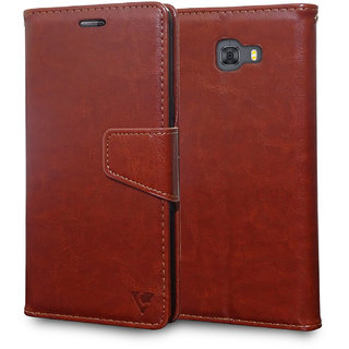 Ceego Luxuria Wallet Flip Cover for Samsung Galaxy C9 Pro (Walnut Brown)