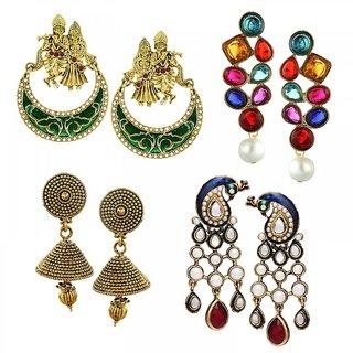 Zaveri Pearls Combo of 4 Ethnic Earrings - ZPFK6027