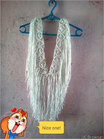 Macrame White Self Design Asymmetric Dress Dress For Women