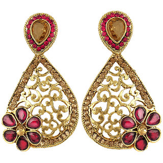 Jewels Capital Exclusive Golden Pink White Earring Set / S 3848