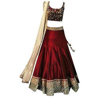 Heavy Bhagalpuri Silk Embroidered Maroon Lehenga with matching blouse pc - traditional wear