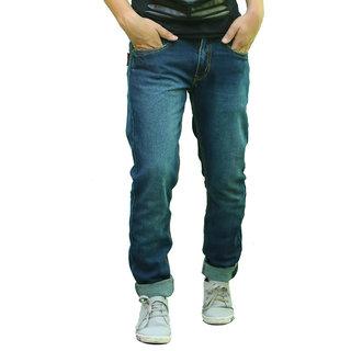 Blue 100 Cotton Regular Fit Jeans