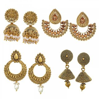 Zaveri Pearls Combo of 4 Ethnic Earrings - ZPFK6030