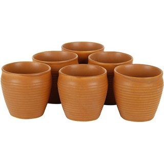 6th Dimensions Earthen Glazed Terracotta Chai (Tea) Handcrafted Studio Pottery Brown  Kulhad /Cups Set of 6