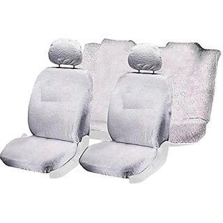 Hi Art White Towel Car Seat Cover Set For Mahindra Kuv100