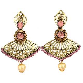 Styylo Fashion Exclusive Golden Pink White Earring Set / S 3872