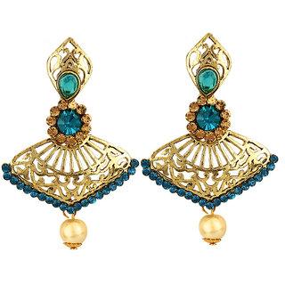 Styylo Fashion Exclusive Golden Blue White Earring Set / S 3873