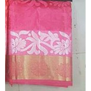 Tussar white horse Pink color saree with Running blouse