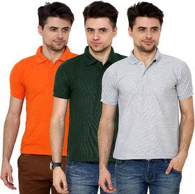 Grand Bear Men's Multicolor Regular Collar T-Shirt (Pack of 3)