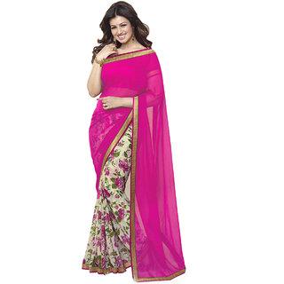 IndianEFashion Womens Pink Chiffon Saree (AishaPink)