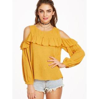 df4b67dee0e67 Buy Raabta Fashion Mustard Plain Round Neck Crop Tops for Women ...
