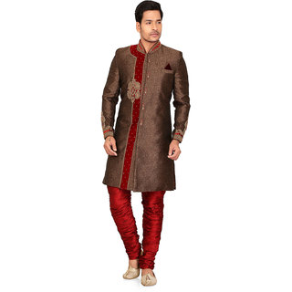 Nu Abc Garments Brown Cotton Blend Sherwani