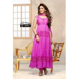 Fashion Anarkali Pink Suit (Unstitched)