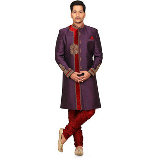 NU ABC Garments Purple Cotton Blend Sherwani