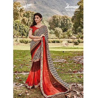 Designer Orange and Brown color Saree for women