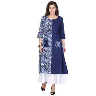 Varanga Indigo Printed Cotton Cambric Round Neck 3/4 Sleeve Kurta with Palazzo KF-MNMAW16101147_PZ16101071