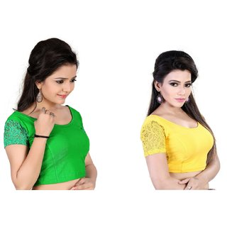 85042bcfd5415 Buy Fressia Fabrics Readymade Stretchable Free Size Saree Blouse For ...