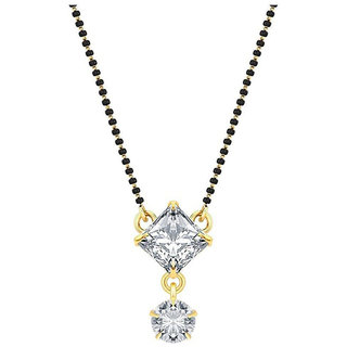 Fashion Frill Single Stone Square Shape Mangalsutra Set